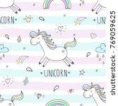 cute hand drawn unicorn vector... | Shutterstock .eps vector #769059625