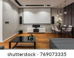 home interior with projector... | Shutterstock . vector #769073335