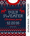 ugly sweater merry christmas... | Shutterstock .eps vector #769076185