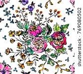 watercolor flower seamless... | Shutterstock . vector #769080502