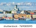 Helsinki skyline and Helsinki Cathedral, Finland
