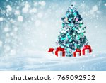 decorated christmas tree with...   Shutterstock . vector #769092952