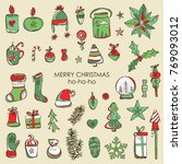 christmas and new year... | Shutterstock .eps vector #769093012