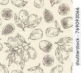 seamless pattern with kumquat ... | Shutterstock .eps vector #769093066