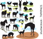 Stock vector set vector silhouettes farm animals 76909621