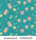 seamless vector floral pattern... | Shutterstock .eps vector #769096255