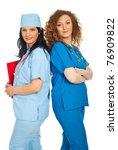two friendly doctors women... | Shutterstock . vector #76909822