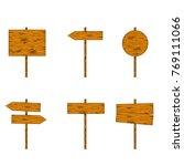 set of wood sign direction...   Shutterstock .eps vector #769111066