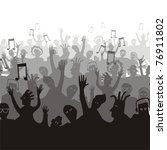 crowd of music fans on a white | Shutterstock .eps vector #76911802