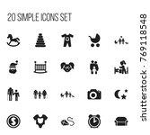 set of 20 editable family icons....