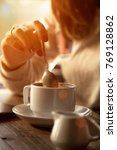 coffee. beautiful girl drinking ... | Shutterstock . vector #769128862