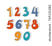 set of hand drawn numbers.... | Shutterstock .eps vector #769131382