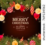 merry christmas greeting... | Shutterstock .eps vector #769134562