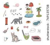 cat animal cute cartoon doodle...   Shutterstock . vector #769135738