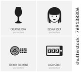 set of 4 editable casino icons. ...