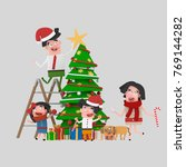 happy family decorating... | Shutterstock . vector #769144282