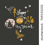 happy new 2018 year funny... | Shutterstock .eps vector #769152232