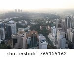 Small photo of ION SKY, ORCHARD, SINGAPORE, JULY, 2016: overlook of Singapore city center from 55 floor Ion Sky