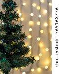 gold christmas background of de ... | Shutterstock . vector #769163776