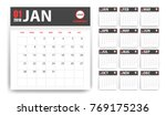 2018 calendar in paper stickers ... | Shutterstock .eps vector #769175236