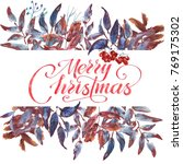 merry christmas greeting card... | Shutterstock . vector #769175302