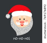 santa smile in cartoon style.... | Shutterstock .eps vector #769176892