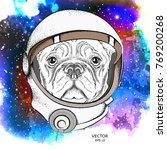 a cartoon dog in an astronaut's ...   Shutterstock .eps vector #769200268