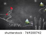 sketch of skier and origami on... | Shutterstock . vector #769200742