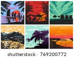 sunset silhouette set vector... | Shutterstock .eps vector #769200772