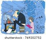 girl is standing near her... | Shutterstock .eps vector #769202752
