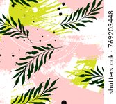 vector tropical palm leaves on... | Shutterstock .eps vector #769203448