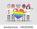 love parade. a group of people... | Shutterstock .eps vector #769203982
