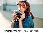 summer closeup street portrait... | Shutterstock . vector #769204708