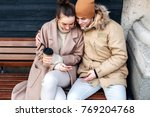 young couple in love have fun... | Shutterstock . vector #769204768