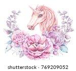 watercolor cute unicorn. floral ... | Shutterstock . vector #769209052