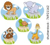 savannah animals. funny cartoon ... | Shutterstock .eps vector #76921162