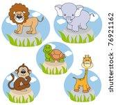 savannah animals. funny cartoon ... | Shutterstock .eps vector #76921162