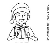 boy with christmas giftbox   Shutterstock .eps vector #769217092