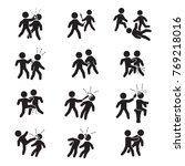 violence icon set. vector. bar... | Shutterstock .eps vector #769218016