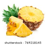 sliced pineapple over white... | Shutterstock . vector #769218145