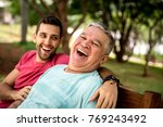 great moment of a dad and son... | Shutterstock . vector #769243492