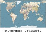 Retro Color World Map   Border...