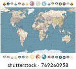 retro color world map and round ... | Shutterstock .eps vector #769260958