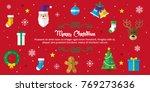 merry christmas background. set ... | Shutterstock .eps vector #769273636