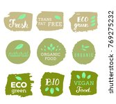 healthy food icons  labels.... | Shutterstock .eps vector #769275232