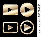 golden play button icon vector | Shutterstock .eps vector #769276258