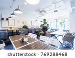 Stock photo interior of modern cafeteria in modern company 769288468