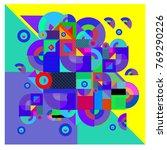 trendy curvy geometric memphis... | Shutterstock .eps vector #769290226
