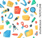 stationery icons office supply... | Shutterstock .eps vector #769291348