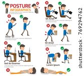 people incorrect posture and... | Shutterstock .eps vector #769294762